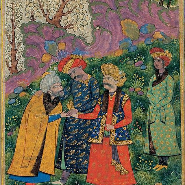 #ShareIG I love this paint there is a Sufi man and you see famous Ghazi Sultan mahmud e Ghaznavi or ( Zaboli ) on red Cloth and Shah Abbas the Great 5th Safavid Shah of Iran on blue cloths at left and at behind of Mahmud you see Malek Ayaz Georgian Turkish male slave of Mahmud which their gay love is famous in Persian literature #Persia #persian #iran #iranian #azerbaijan #armenia #afghanistan #sufi #safavi #safavid #ghaznavid