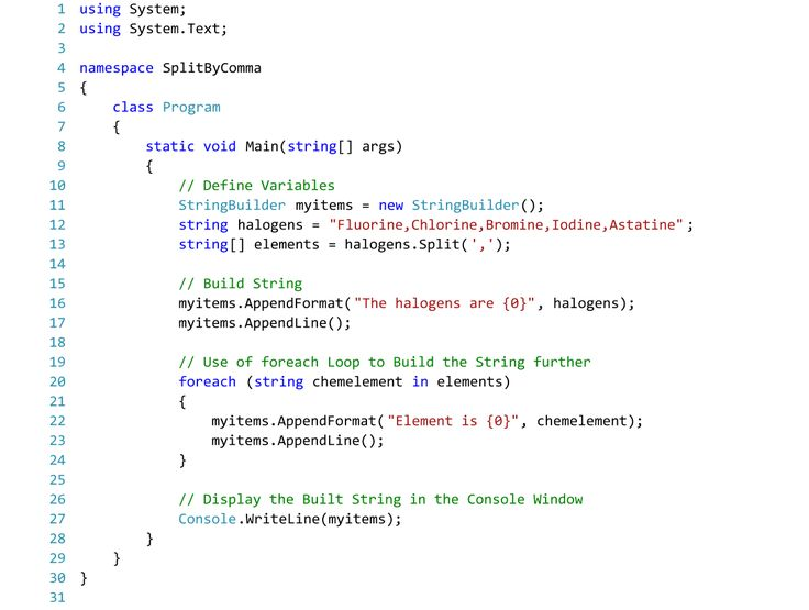 C# Code for Splitting Strings by Comma.  With StringBuilder Class to Display Split Strings.  Text Editor - Visual Studio 2015.