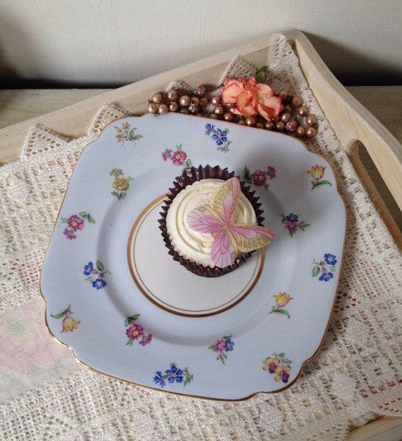 Vintage Windsor Flower patterned Bone China cake plate on Etsy, £9.00