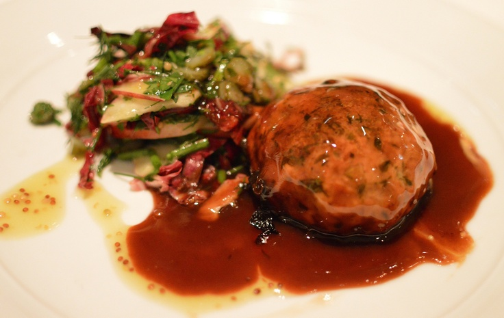Pork belly & chorizo crepinette w radicchio & nectarine salad
