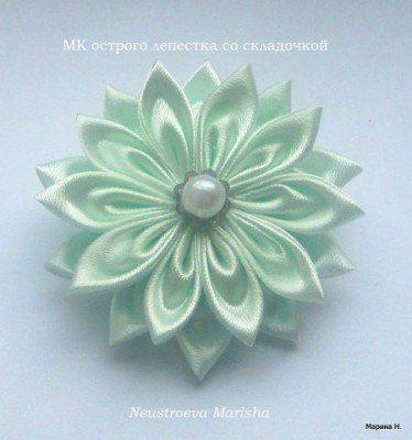 Цветочек в технике канзаши. Мастер-класс.... фото #1