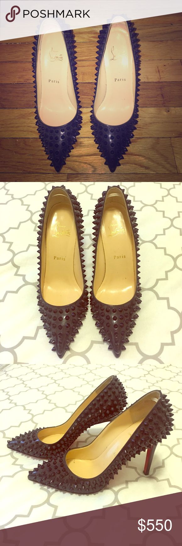 Christian Louboutin Pigalle Spiked Pumps Gently worn 100mm Christian Louboutin Dark Purple Pigalle Spiked Pumps. These shoes are bada**. Comment if you need more pics! Christian Louboutin Shoes Heels