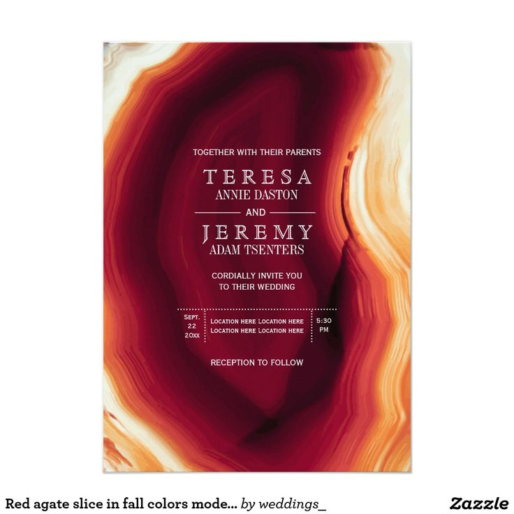 zazzle wedding invitations promo code%0A Red agate slice in fall colors modern wedding card