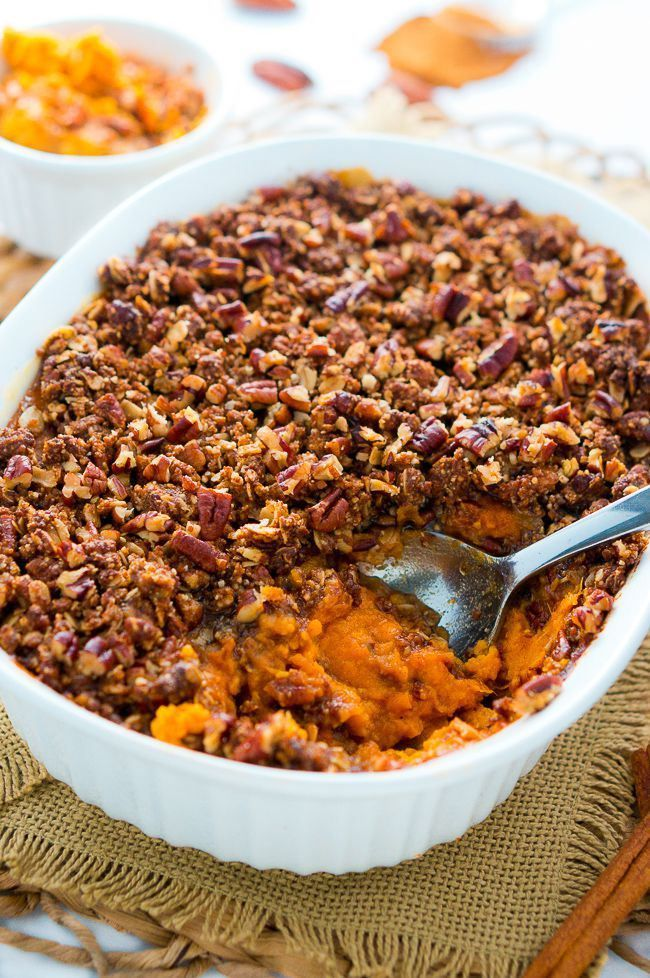 A healthier sweet potato casserole topped with sweet & delicious crunchy pecan topping. Perfect for Fall and Thanksgiving!