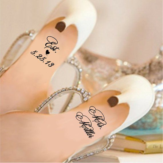 Personalised shoe decals - see more ideas at http://themerrybride.org/2014/09/06/ideas-for-personalising-your-wedding/
