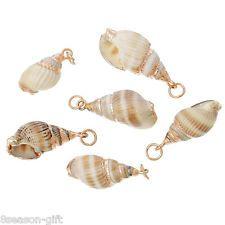 5PCs DIY Shell Charm Pendants Conch Natural Rose Gold