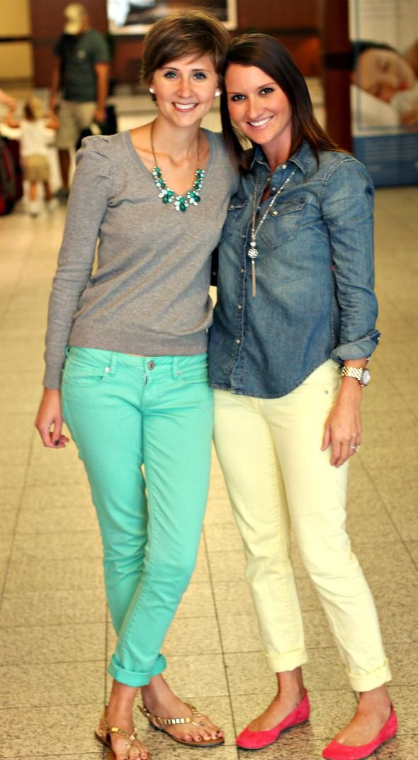 I'm digging the colored pants trend. Not sure if I could pull it off. LOVE the aqua jeans and the pink suede flats! More