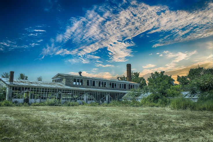 #abandoned #architecture #beautiful #blue sky #building #clouds #cloudscape #dawn #daylight #field #grass #house #industrial #landscape #light #nature #old factory #outdoors #structure #summer #sun #sunset #travel #tree