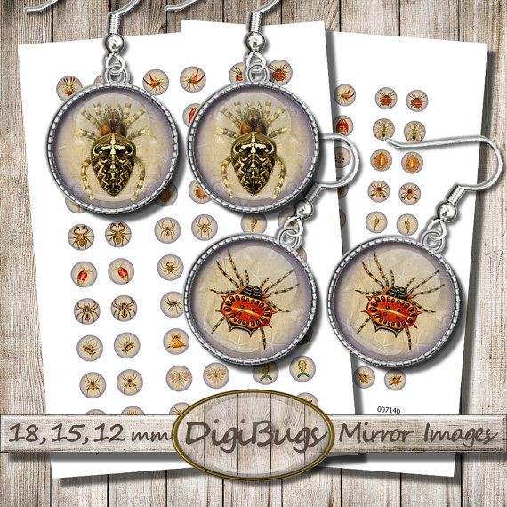 Sea Creatures, Digital Collage Sheet, 12 mm, 15 mm, 18 mm Circles, Crab Spider Plankton, Round Jewelry Images, Instant Download, b2