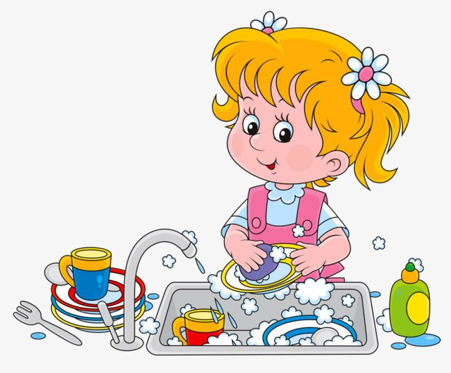 Cartoon Child Girl Housework Industrious Girl Clipart Washing Clipart Dishes Clipart Kids Clipart Baby Girl Clipart Cartoon Kids