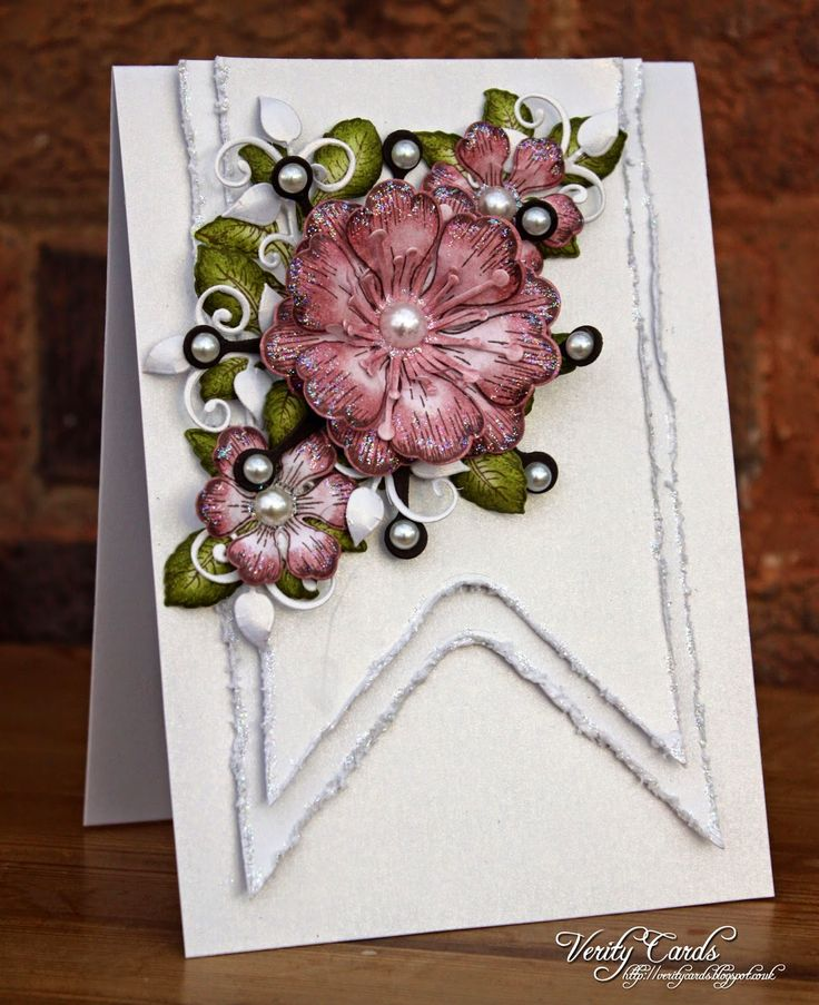 Card made using the Cut Mat create dies to make the banners and Arianna Blooms from Heartfelt Creations. Made by Liz Walker