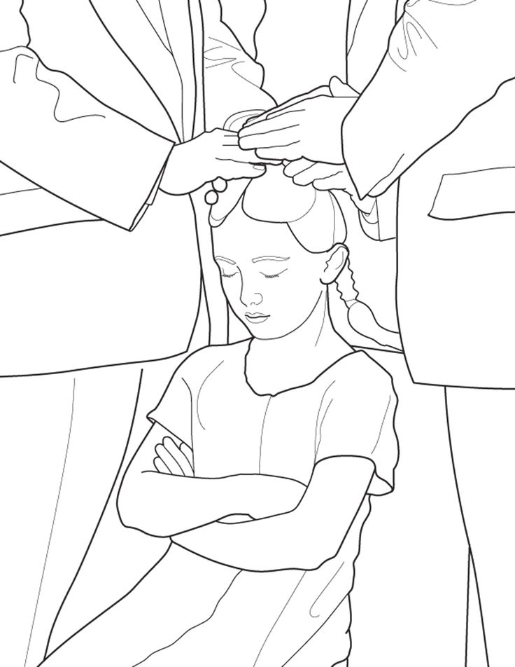 a primary coloring page from the lds church a girl is confirmed following baptism - Coloring Pages Primary Lessons