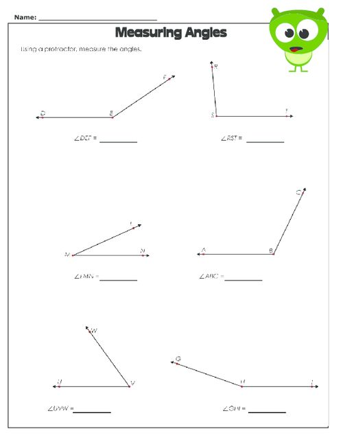 Angles worksheets for 4th graders