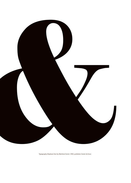 Beautiful black and white graphical print with an ampersand. This stylish typography poster looks fabulous anywhere in the house. www.desenio.com