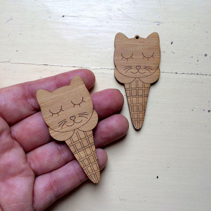 Kitty Cone  Duo - Bamboo #australiasbiggestandbestrangeoflasercutsupplies #craftycutslaser #diyjewelerysupplies