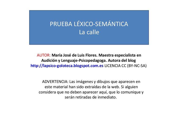 Prueba léxico semántica la calle by MariaJosé Luis Flores via slideshare