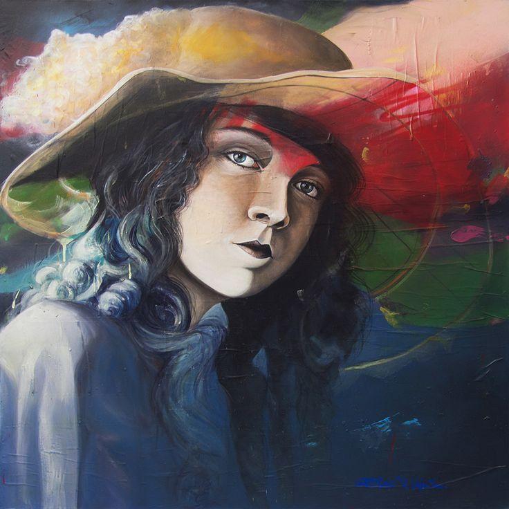 GaeTano & Valentina, LILLIAN ©2017, acrylic on paper and canvas 100 x 100 x 2 cm - 39.4 x 39.4 x 0.78 in Serie: 30/Trentesimi