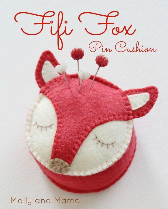 FELT FOX PDF Pin Cushion Pattern - 'Fifi Fox' pincushion, wool felt, softie…