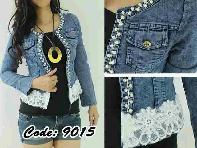 #jaket #jeans #motif #bunga, uk. fit to L @ 265.000