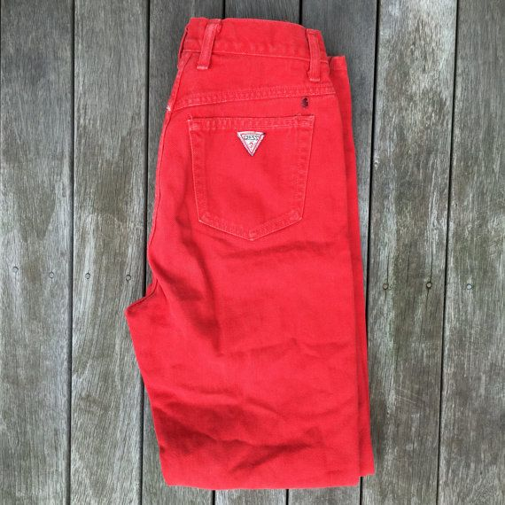 Vintage 90's Grunge Guess Jeans Red Size 30 Georges Marciano Guess? Jeans USA Hipster Unisex Straight Leg Denim Jeans Streetwear Hip Hop USA