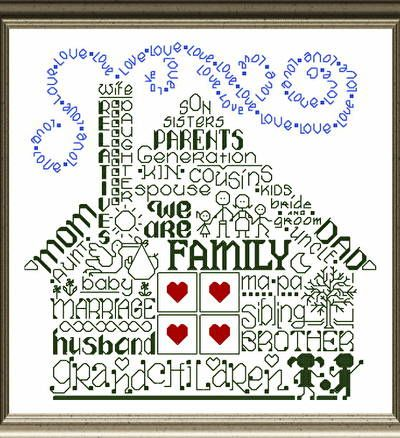 Lets Be Family cross stitch pattern.