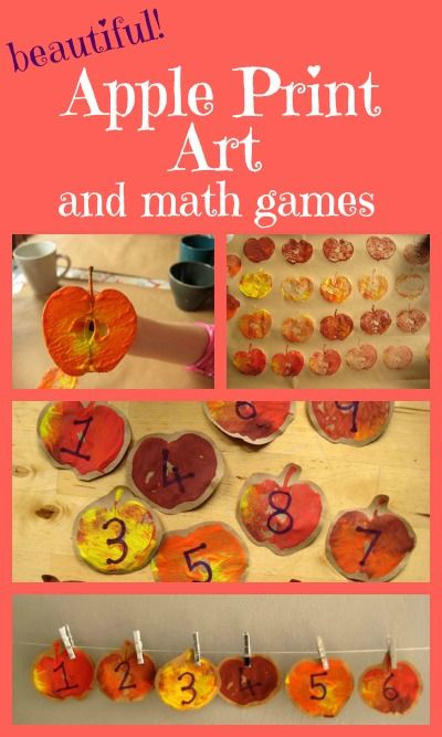 Gorgeous apple print art, turned into maths games - beautiful, fun learning!