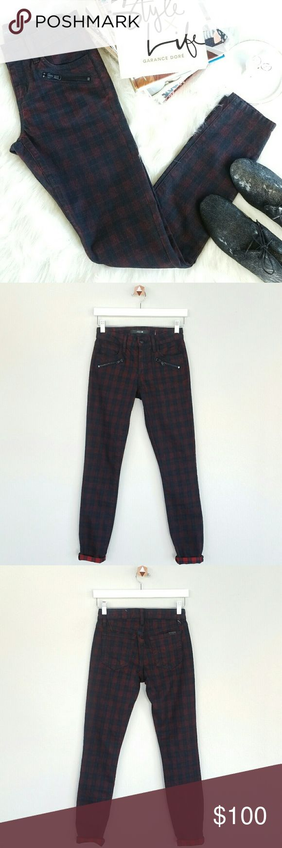 """JOE'S JEANS plaid tartan print skinny pants Plaid tartan print coated skinny jeans. Diagonal front zip pocket. Fabric: 99% cotton, 1% elastane. Color: black and Oxblood red.  Size: 24. Measurement when garment laid flat approximately: Waist: 13"""". Hips: 17.5"""". Rise: 8.5"""". Inseam: 30"""". Length: 38.5"""".  NWT. Never worn. Can provide more pictures and info upon request. Joe's Jeans Jeans"""