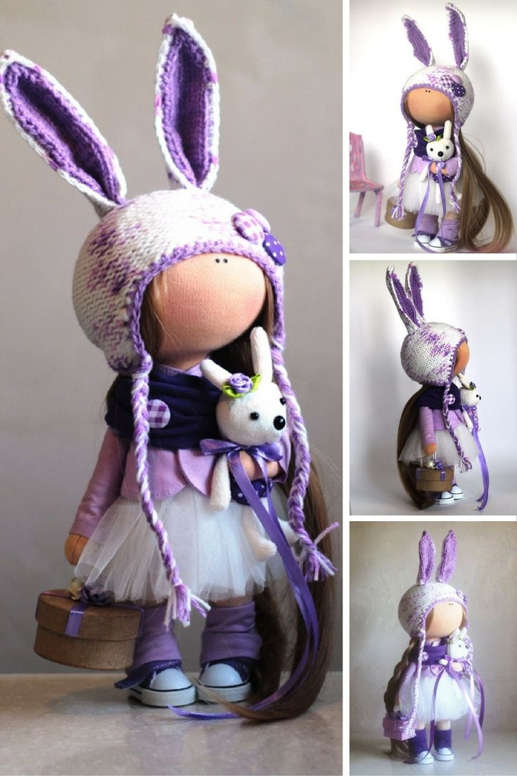Rabbit doll Fabric doll Summer doll handmade violet color Soft doll Cloth doll…