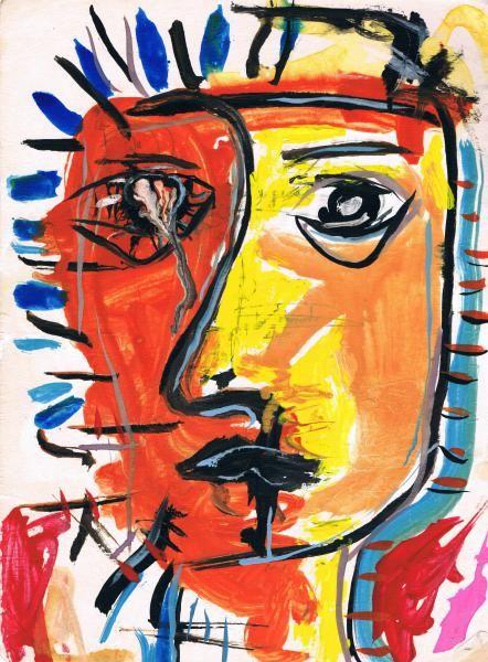 #NEOEXPRESIONISMO Rostro de mujer llorando. El Neoexpresionismo  vuelve al expresionismo se caracteriza por su agresividad con unos dibujos bastante deformados pero donde se pueden reconocer, con coloridos fuertes.