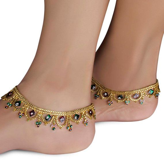 Designer Indian Gold Plated Beaded Stone Studded Payal Anklets