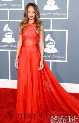 Рианна, Одетая В Этом Красный Платья Знаменитостей В Грэмми Наград то, что Вы Видите, Что Вы Получаете Красный Тюль Китай MR02