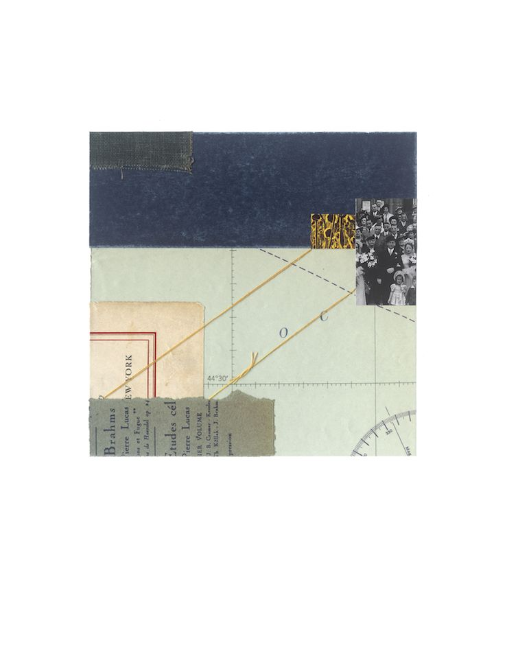 "© Sally Herman 2016 From Here 7""x7"" collage, vintage papers, contemporary paper, buckram and thread"