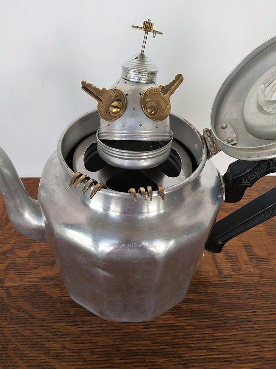 Assemblage Art Coffee Pot Gremlin Steampunk Sculpture Assemblage Art Welding Art Recycled Robot