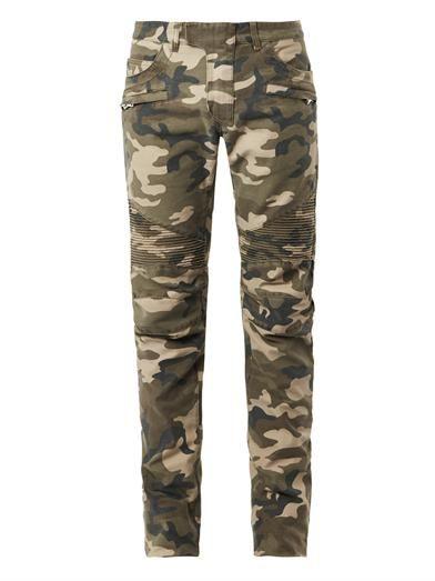 Balmain Camouflage-print biker jeans