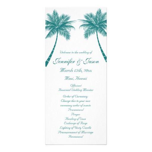 Palm Trees White Teal Beach Wedding Programs