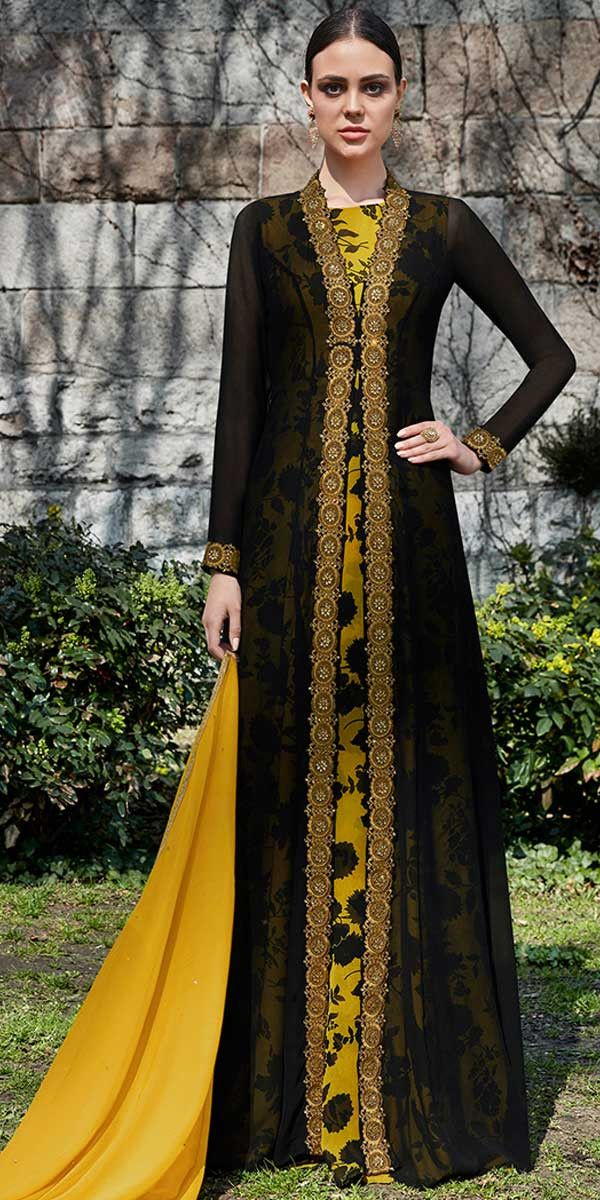 f84821065d83 Awesome Black And Yellow Georgette Anarkali Suit. #gown #gowns #floral  #classy #designer #partywear #partyweargown #us #uk #usa #international ...