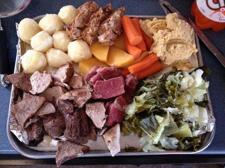 Wonderful Newfoundland scoff - Cabbage, Peas pudding, carrot, salt meat, turnip bread pudding, potatoes, roast pork..