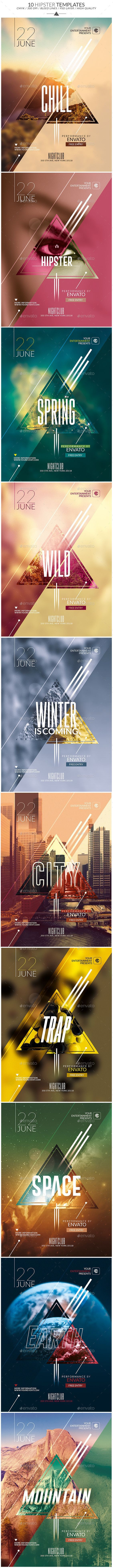 10 Minimal Hipster Party Flyers Template, Clean, Very easy to Edit and Creative Design perfect to promote your Event !