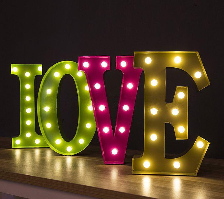 Искусство алфавит бра любовные огни освещения украшения для спальни livingroom, Бесплатная доставка купить на AliExpress