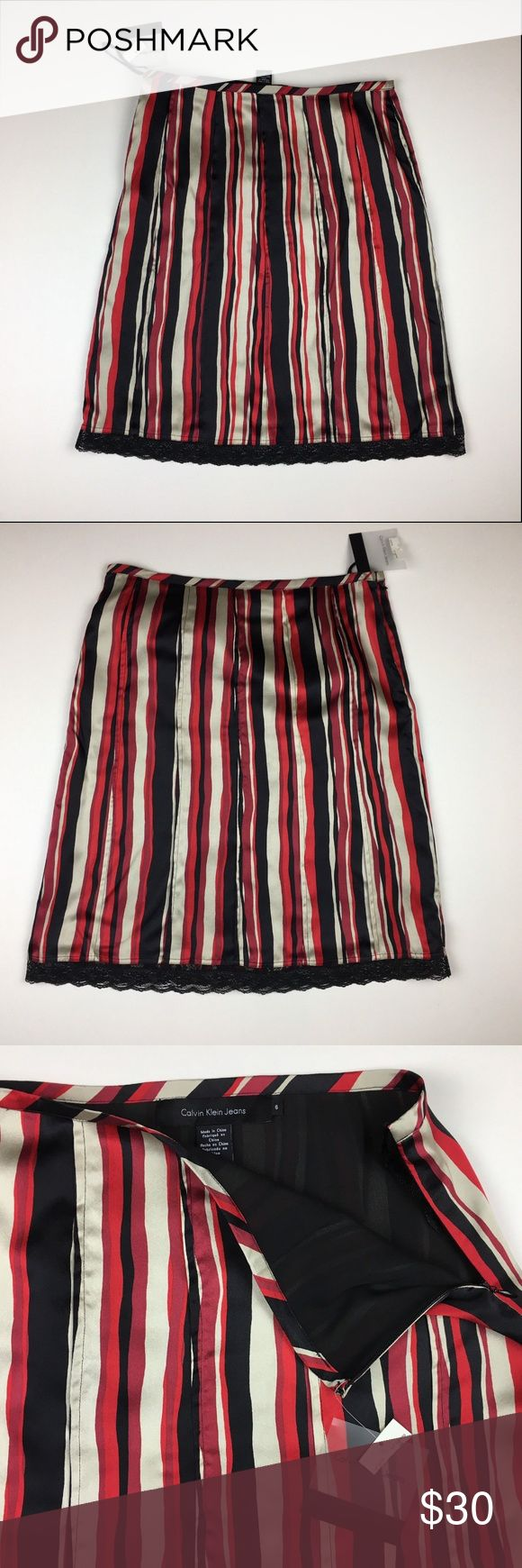 Calvin Klein Sz 6 Silk Red Striped Lace Trim Skirt Calvin Klein Womens Sz 6 Striped 100% Silk Skirt Lace Trim Black Red NWT  Waist: 31 inches Hips: 40 inches Length: 24 inches  Fabric of shell: 100% silk Calvin Klein Skirts A-Line or Full