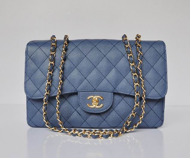 Chanel 2.55 Bags Soft Grained Blue With Gold Chain