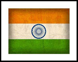India Flag Vintage Distressed Finish Framed Print by Design Turnpike