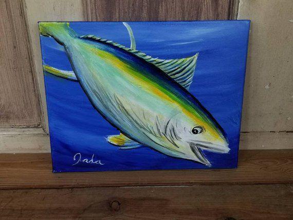 Original Acrylic Yellowfin Tuna Fish Painting Deep Sea Fishing Art