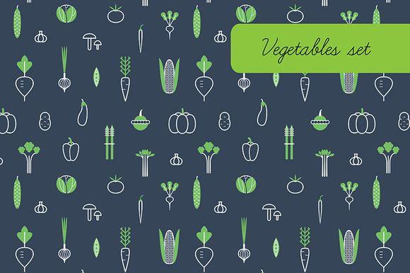 Vegetables. Icons, patterns. by Lera Efremova on @creativemarket
