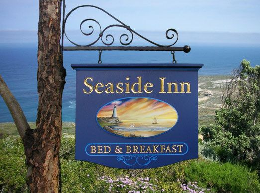 Seaside Inn Bed & Breakfast Sign From Danthonia Designs. Carved & Gilded text, Artist-Painted image. See more of our handcrafted signs on www.danthoniadesigns.com