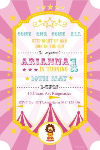 19 best Party Invitations for Teens - Party Invitations images on - circus party invitation