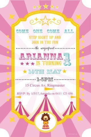 Pinterestu0027teki 25u0027den fazla en iyi Circus birthday invitations fikri - circus party invitation