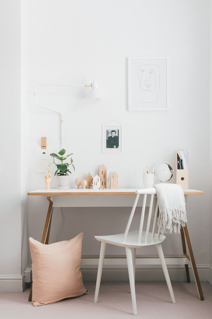 White, Wood & Blush Bedroom | A Frame Desk | Neutral Desk Accessories | White Desk Chair | Statement Wall Light | A modern neutral millennial pink bedroom for children with handmade furniture, personalised artwork and statement lighting.