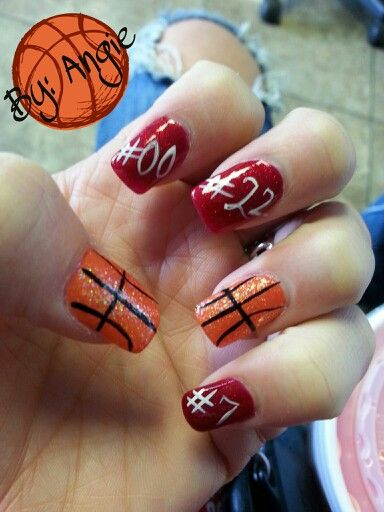 Best 25 basketball nails ideas on pinterest cal basketball basketball season basketball glitter design red glitter kids numbers nail art prinsesfo Choice Image