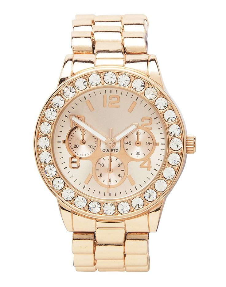 FOREVER NEW | Hannah Diamante Watch in Rose Gold - Women - Style36